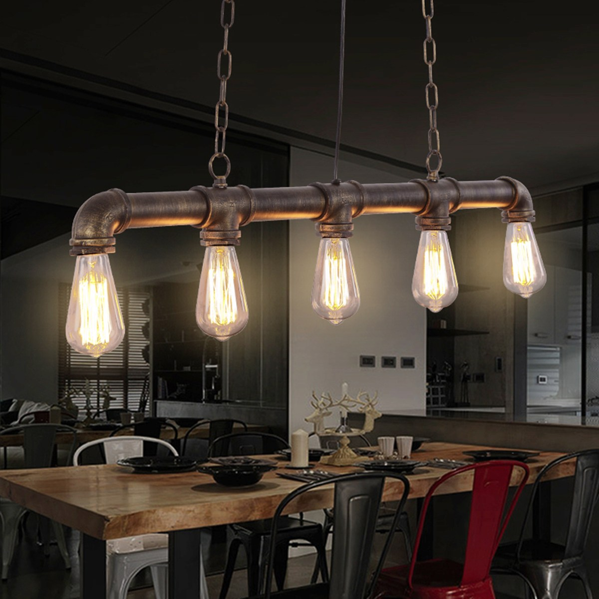 5 Heads Loft Retro Pendant Lamp Industrial Vintage Water Pipe Pendant Lamp E27 Hanging Light for Bar Restaurant Dining Room simple bar restaurant droplight loft retro pendant lamp industrial wind vintage iron hanging lamps for dining room