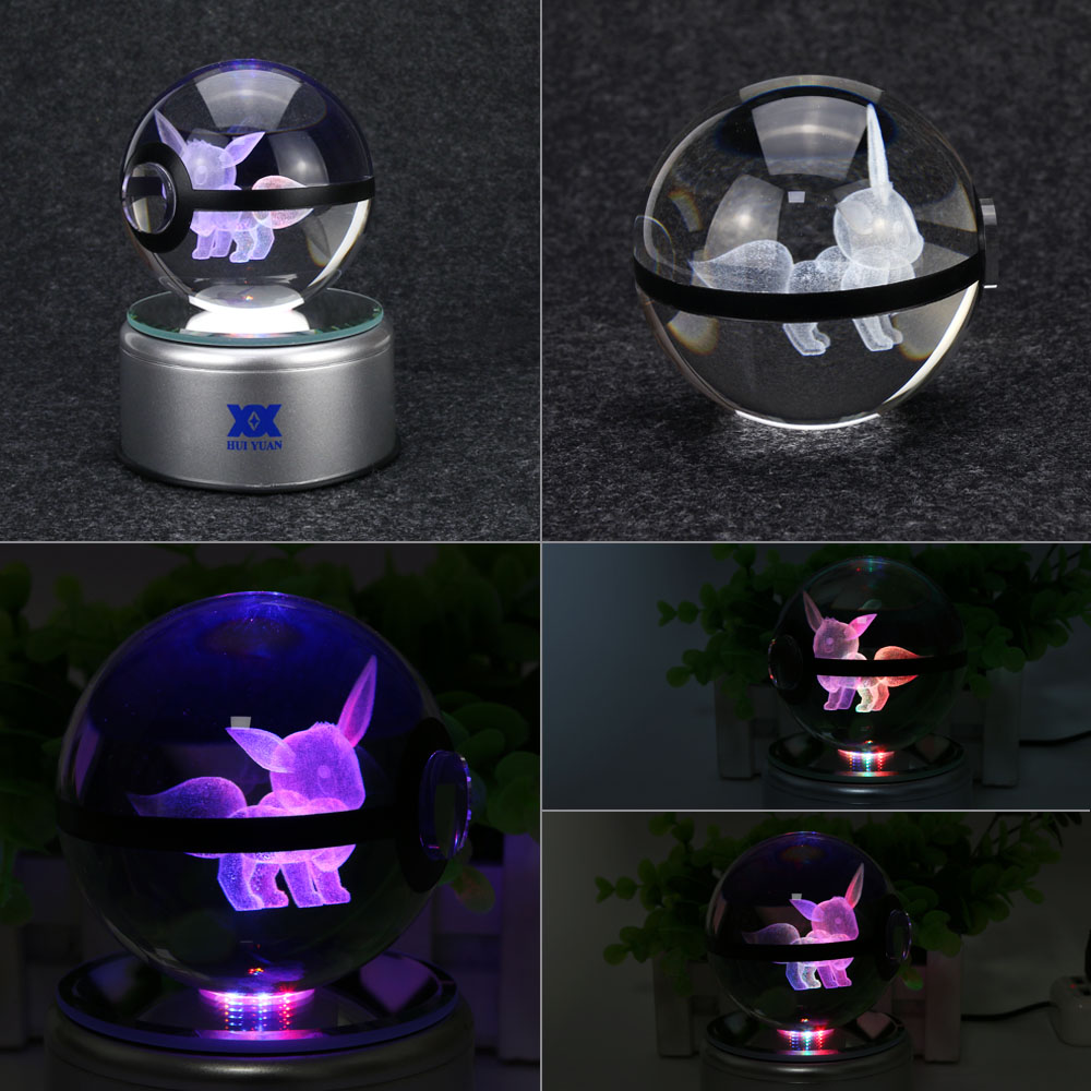 Eevee 3D кристаллды шамдал Pokemon Go Үстелге - Түнгі жарық - фото 3