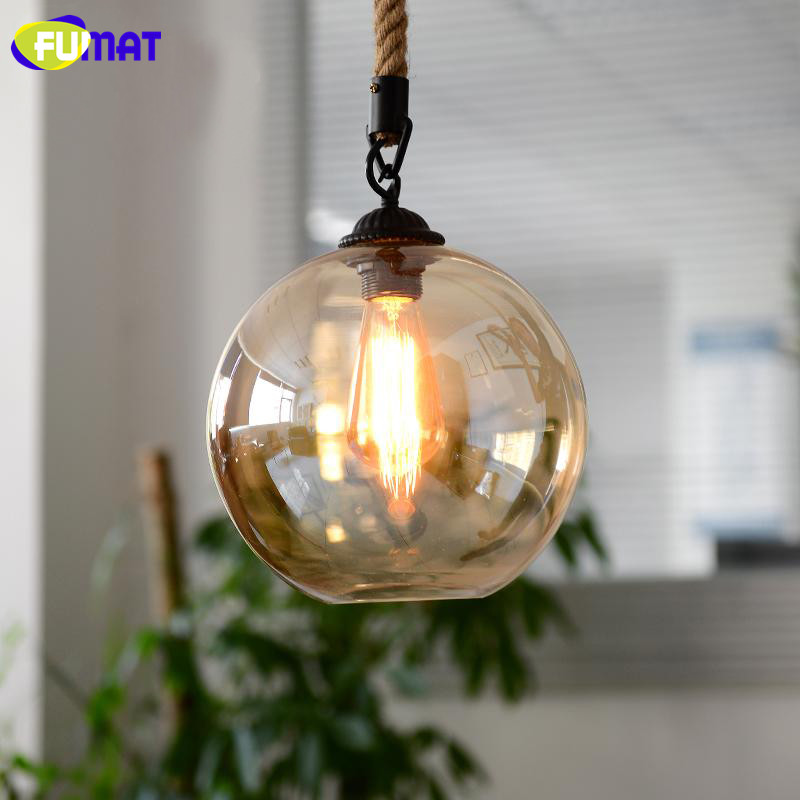 FUMAT Amber Glass Pendant Light Loft Bar Cafe Light Fixture Nordic Vintage Single Head Rope LED Pendant Lamp for Dinning Room