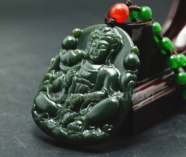 Beautiful Natural Green HeTian Jade Carved Chinese GuanYin Amulet Lucky Pendant + Free Necklace Certificate Fine Jewelry