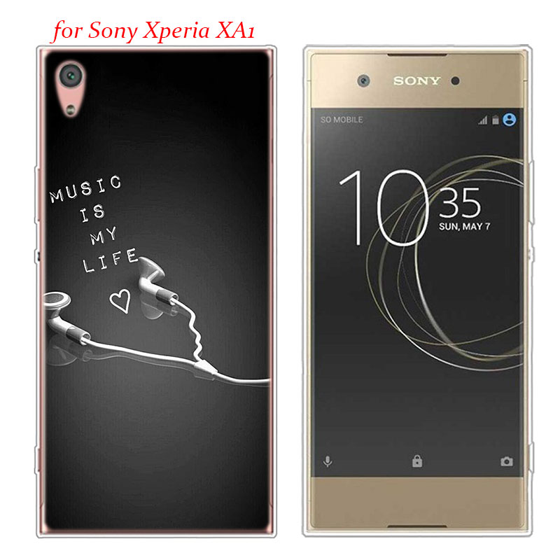 Transparent Soft Silicone Phone Case I love music for Sony Xperia E5 XA1 XA2 M5 Z5 XZ1 XZ2 Compact in Fitted Cases from Cellphones Telecommunications