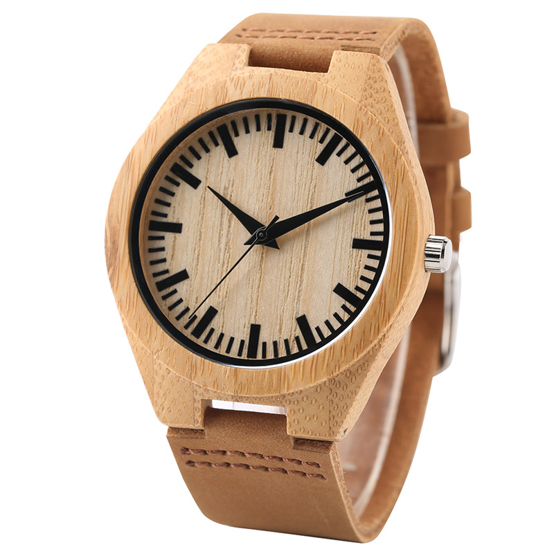Fashion Wooden Light Quartz Wrist Watches with Leather Bracelet Khaki Bamboo Watch for Men Women relojes