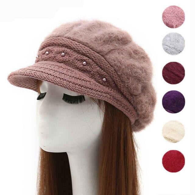 42f2f22f HT2167 Autumn Winter Hats for Women Rabbit Fur Hats Thick Warm Women Berets Ladies  Fleece Lined Knitted Hat Female Newsboy Caps