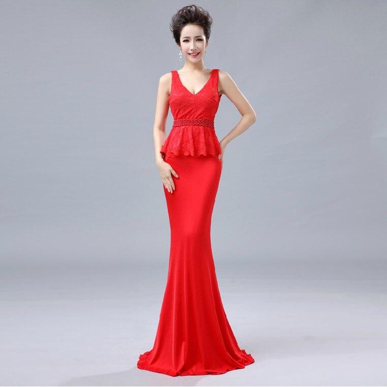 Распродажа, кружевные, v-образная горловина, вечерние платья строгое длинное вечернее платье vestido de festa; robe de soiree Abendkleider H0533 - Цвет: Red