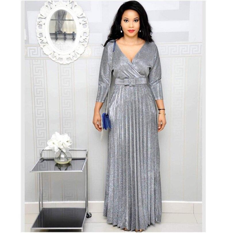 US $12.79 35% OFF Sukienki afrykańskie stroje dla kobiet Dashiki długa, maksi sukienki Bazin Riche tradycyjne ubranie afrykańskie rękaw 34 sukienka