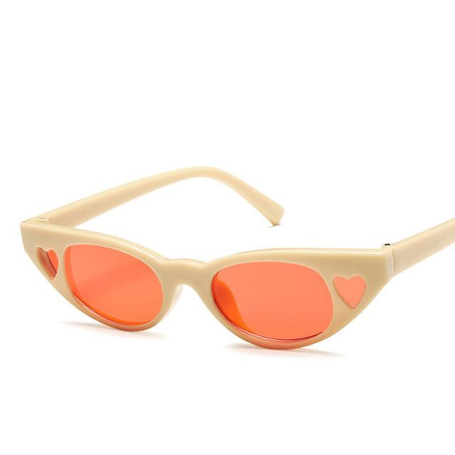 Small Vintage Sunglasses Women Cat Eye Brand Designer Retro Cateyes Sun Glasses Female Frame Love Heart Eyewear Eye Glasses