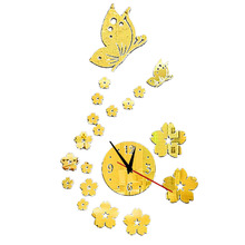 Butterfly Flower Wall Clock Sticker Modern DIY 3D Mirror Surface Art Stickers Decal Bedroom Home Decor FP8