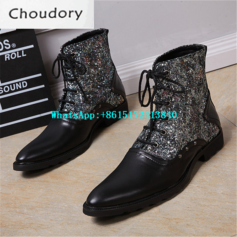 Choudory Lace-Up Pointed Toe Mixed Colors Bling Men Leather Martin Shoes Height Increasing Party Fashion Chukka Ankle Boots Men