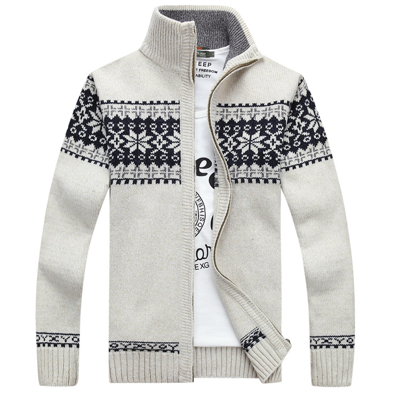 2019 New Male Cardigan Masculino Arrival Autumn Men Sweater Coat Fashion Quality Zipper Snowflake Christmas Sweater