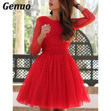 Genuo Christmas Dress Vintage Elegant Tutu Women Sexy Backless Tulle Party Mini High waist long sleeve sexy dress