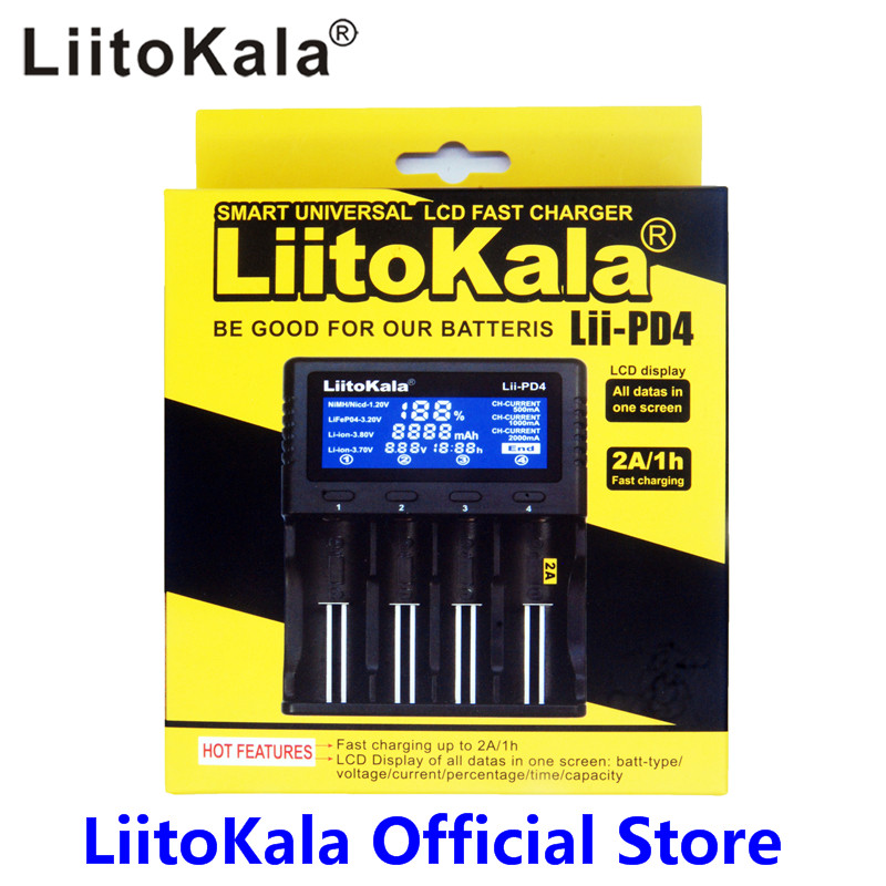 Liitokala Lii-PD4 LCD 3.7V 18650 18350 18500 16340 21700 20700B 20700 10440 14500 26650 1.2V AA AAA NiMH lithium battery Charger liitokala lii 500 lcd 3 7 v battery charger 18650 26650 18500 16340 18350 14500 14500 10440 1 2 v aa aaa nimh batteries