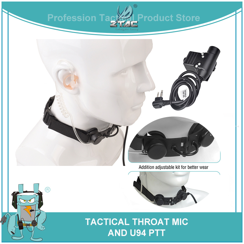 z garganta tatico microfone militar fone de ouvido caca guarda costas sniper garganta mic tubo airsoft