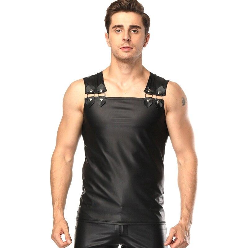 New Vinyl Tank Top Men Fashion Sexy Faux Leather Solid Black Men Vest Slim Fitness Sleeveless Tights Undershirts Nightclub Wear