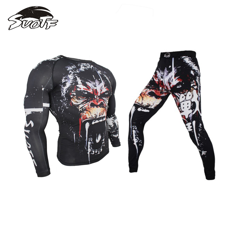 Mma Fightwear Compression Jersey & Pants Indignant Gorilla Print Boxing Rashguard Kickboxing Tee Trousers Muay Thai Stretchy Tights