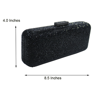 Image 2 - Luxury Crystal Rhinestone Evening Clutch Bags for Bridal Prom Evening Party Crystal Box Clutch Black Evening Bag