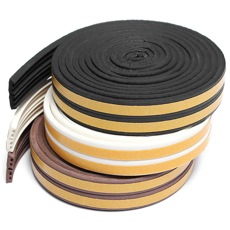 5M E-type Foam Draught Self Adhesive Window Door Excluder Rubber Seal Strip Suit For Doors And Window Frames Accessories