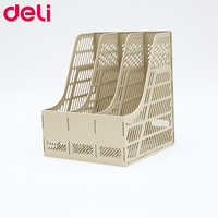 Deli 9847 document trays file box functional file organizer 3 layers desktop storage file folder with label plastic