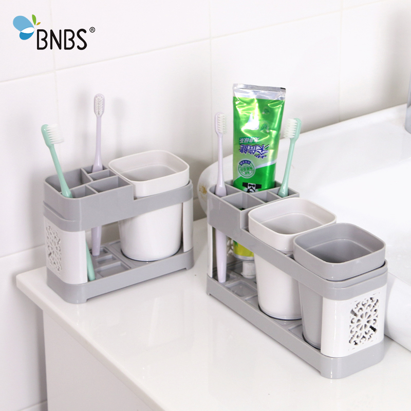 BNBS Fashion Porous Toothbrush Holder Family Bathroom Tools Toothpaste Razor Accessories Comb Storage Box Double Cup in Toothbrush Toothpaste Holders from Home Garden