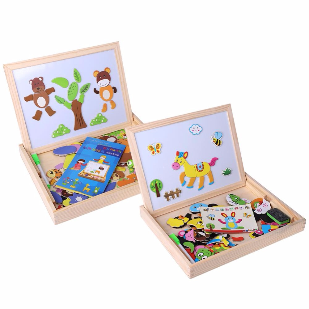 Kids Magnetic Wooden Puzzle Toy Sets New Animal Zodiac ...