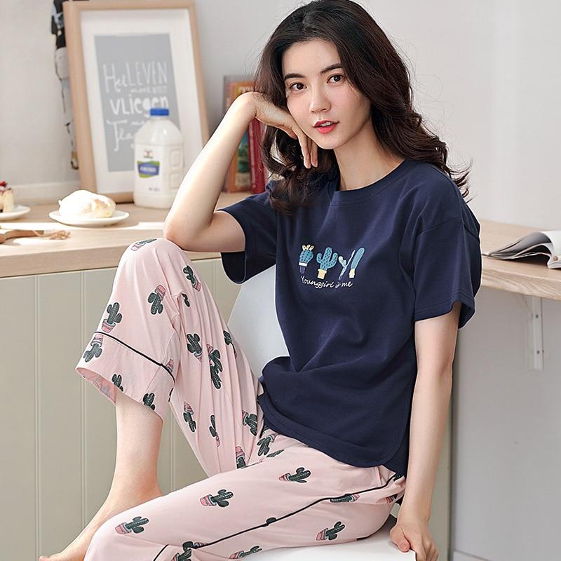 Image 5 - 少女パジャマセットレジャー服春薄型半袖女性パジャマサボテン印刷パジャマ素敵なホーム服    グループ上の 下着