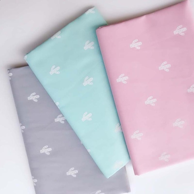160cm*50cm cotton cloth PINK GRAY BLUE simple white cactus plants fabric for baby bedding cushion apparel patchwork fabric