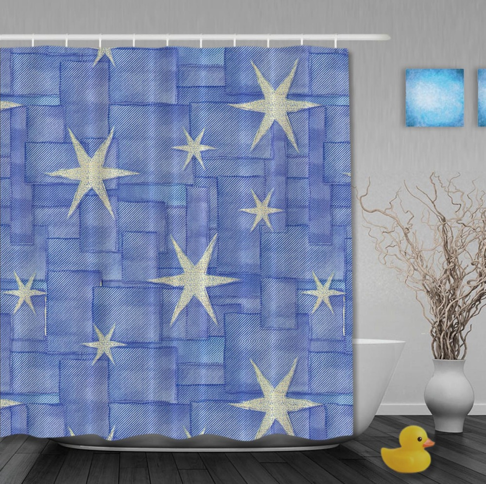 Brighten Star Blue Pattern Shower Curtains High Quality Waterproof Fabric Shower Curtain Custom Bathroom Curtain With Hooks