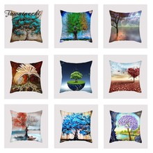 Fuwatacchi Colorful Tree Cushion Cover Blue Purple   Soft Throw Pillow Cover Decorative Sofa Pillow Case Pillowcase elephant girl and tree nature landscape design sofa pillow case