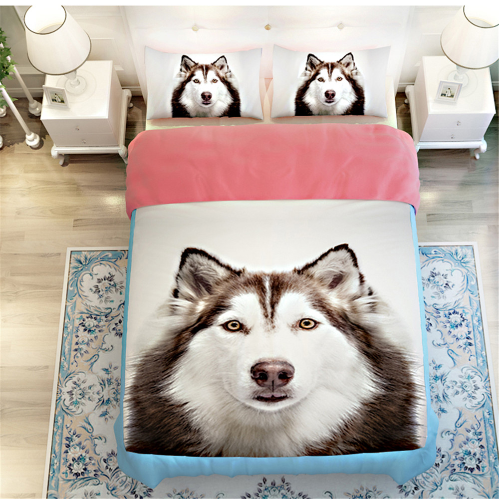 3d Printed Oil Siberian Husky Dog Cat Bedding Sets 3 4pcs
