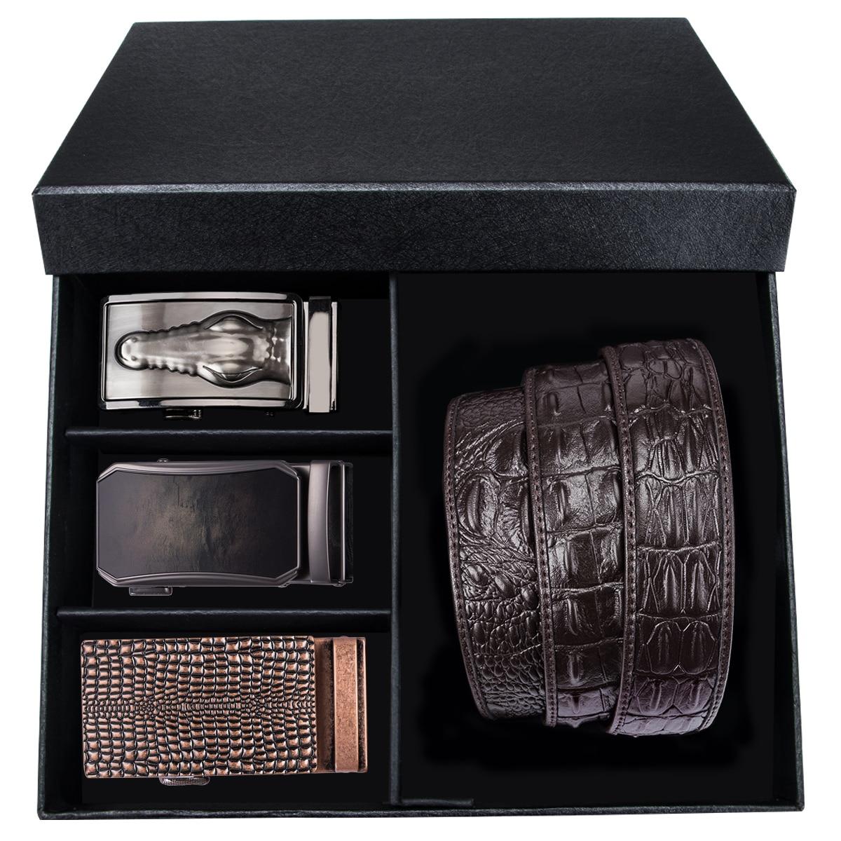 Hi-Tie Luxury Box Belt Mens Brown Cowhide Genuine Leather Automatic Buckle Belts For Men Cowboy Crocodile Jeans Belt Strap