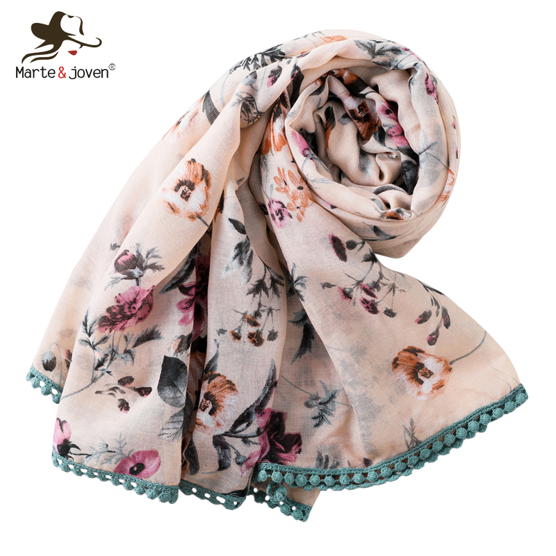 Marte&Joven Elegant Flower Print Lace Fringe Pink Scarf for Women Fashion Spring Autumn Long Shawls Wraps Ladies Beautiful Hijab
