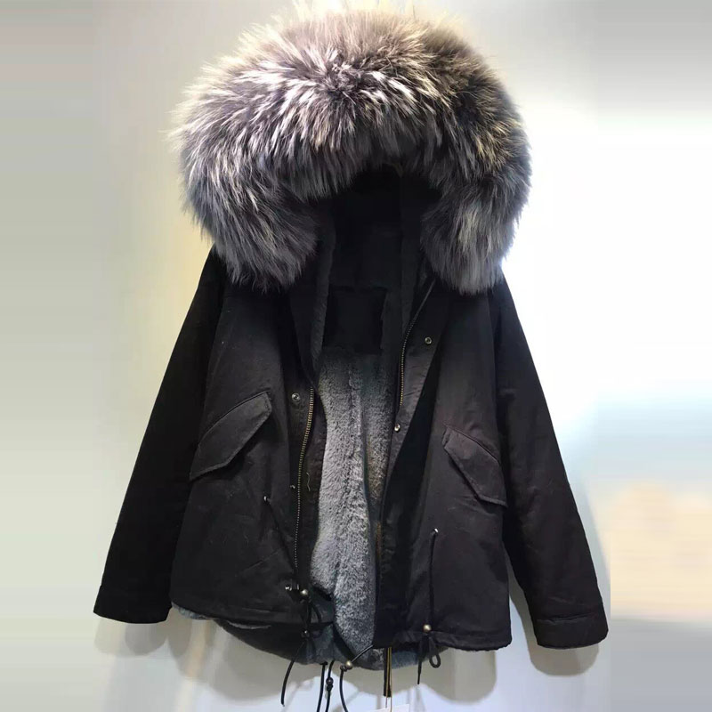 Black womens winter jackets with big raccoon fur hooded faux fur coats Chemisier