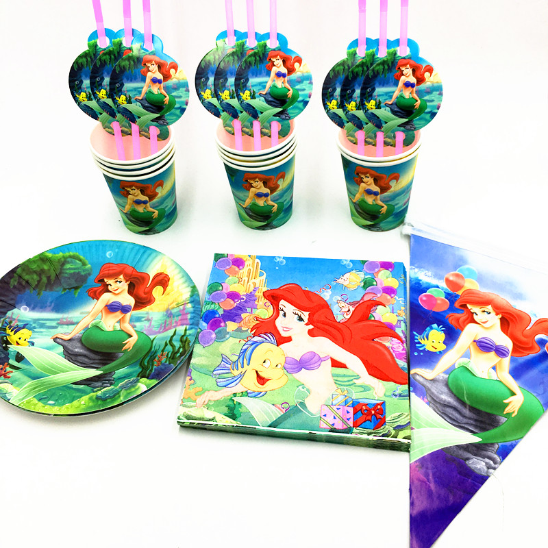 41pcs/lot Mermaid plates cups banners kids birthday party supplies Mermaid party banner glass plates Mermaid dishes glasses