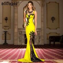 Sarı Spandex yeni uzun aplikler seksi sevgiliye Illusion geri Dubai arapça suudi arabistan akşam balo elbise Custom Made artı