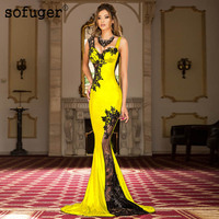 Yellow New Long Appliques Sexy Sweetheart Illusion Back Dubai Arabic Saudi Arabian Evening Dresses Prom Dress