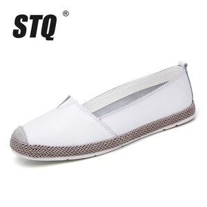 Image 2 - STQ zapatos planos de piel auténtica para mujer, mocasines sin cordones, Ballet, bailarina, abuela, otoño 2020