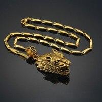 Người đàn ông Vòng Cổ & Pendant Vàng Màu Thép Không Gỉ Wolf Necklace Wolf Head Bùa Mặt Dây Chuyền Với Chain Man Động Vật Mặt Dây Trang Sức