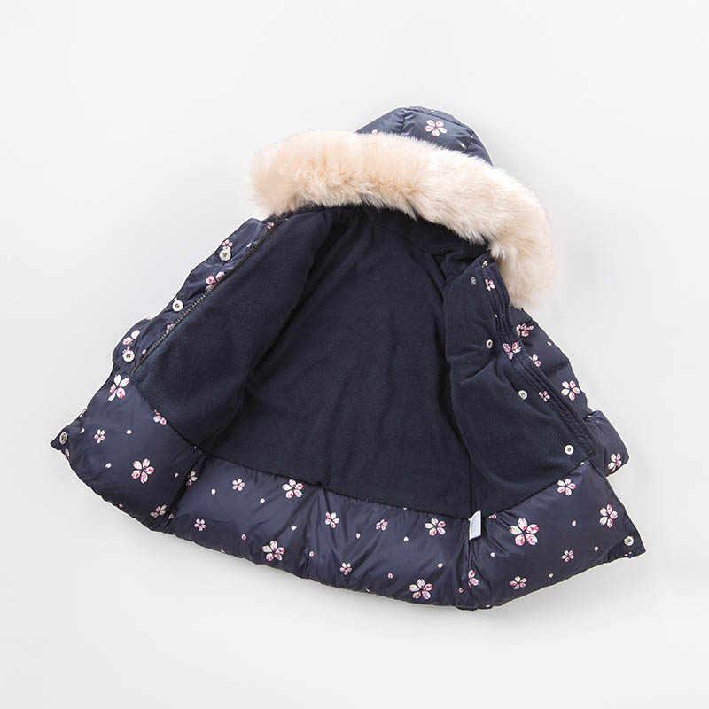 DBJ7429デイブベラ冬赤ちゃんの女の子ダウンジャケット子供白いアヒルダウンパディングコート子供フード付き上着