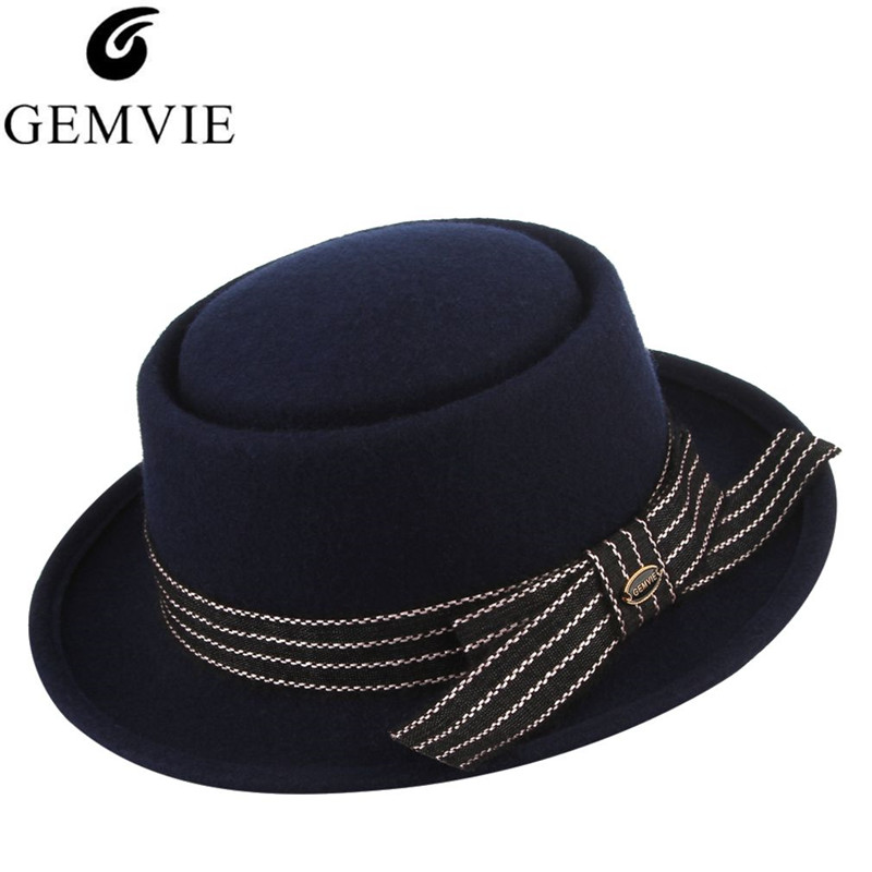 51f9f0004de GEMVIE Classical Jazz Cap Wool Fedoras for Men Women 100% Wool Felt Hat  Vintage Solid Color Flat-Top Roll Brim Top Hat With Box