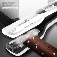 CkeyiN Electric Steam Comb Straightening Iron Hair Flat Iron Fast Steampod Moisturizing Hair Straightener Brush LCD Display 3940