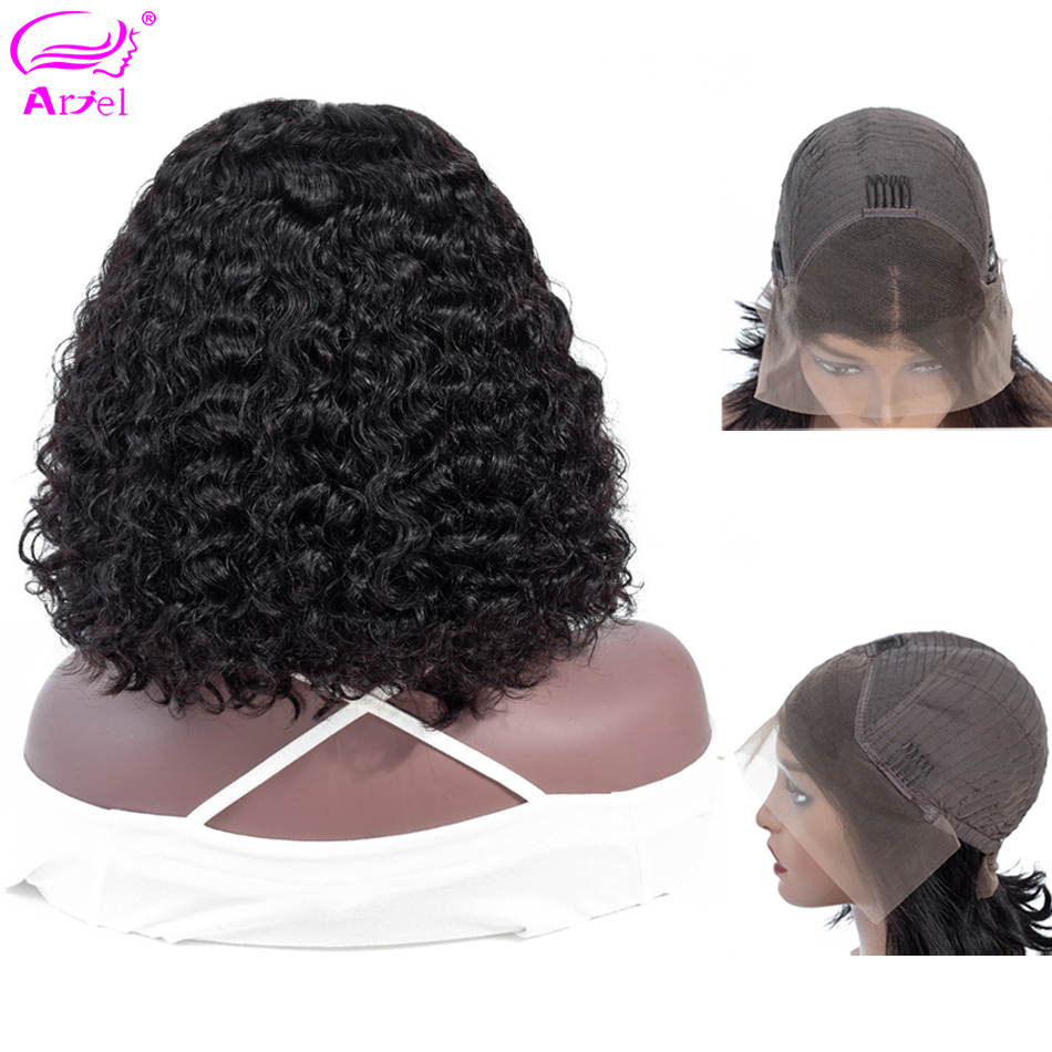Curly Lace Front Human Hair Wigs For Black Women Bob Wig Pre Plucked Peruvian Remy 13