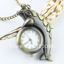 Free shipping dolphin necklace watch,Women's men's necklace watch 50pcs/lot wholesale,Gift Watch Fast Delivery