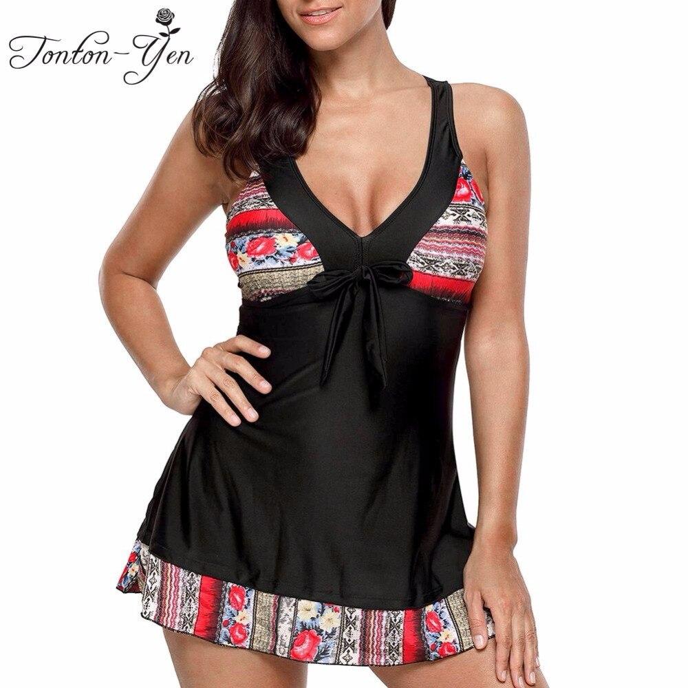 9903c1ef1c3 Fat MM Tankini Set Swimsuit With Skrit Women Plus Size Swimwear Push Up  Swimsuit Print Big