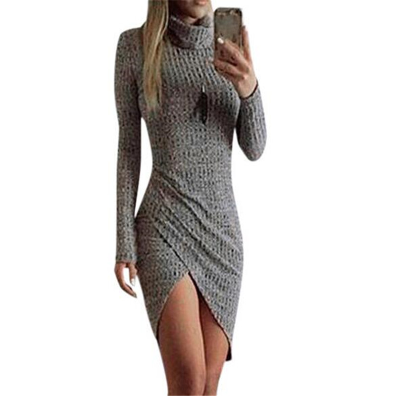 Sexy Grey Women Knitted Dresses Ladies Full Sleeve Wrap Beach Front Short Dress Sweater Bodycon Turtleneck Robe Femme women turtleneck front pocket sweater dress