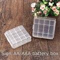 2 UNIDS Plástico Transparente 4 unids AA AAA Caja de Batería de Holder Blanco Caja de Almacenamiento Envío Gratis
