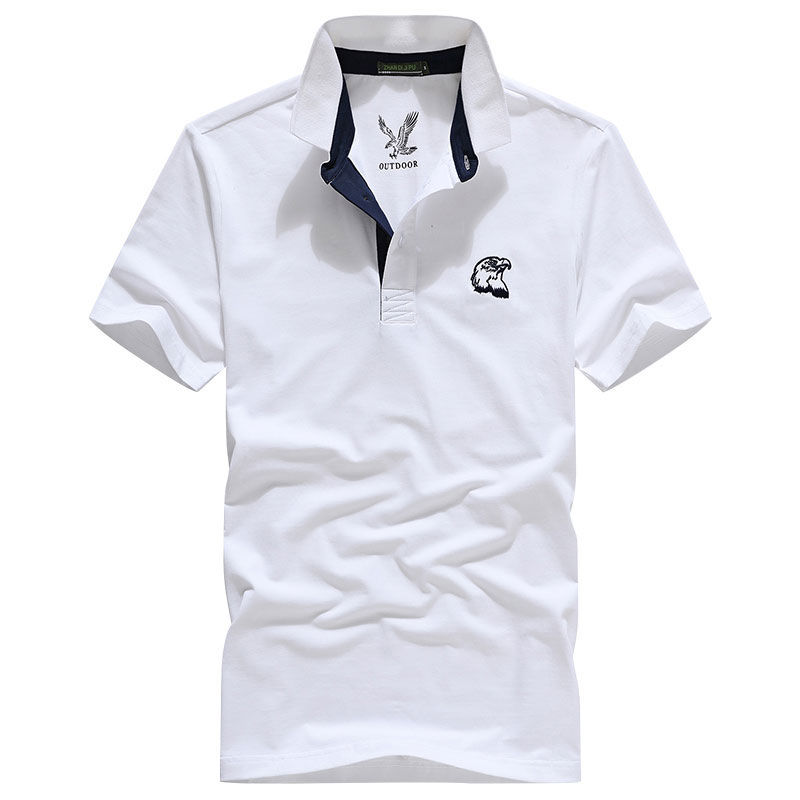 XXXL Summer Men's Solid Color Cotton   Polo   Shirts Brand Fitness Tops Tees Short Sleeve Shirts Casual Black and White Men CLOTHES