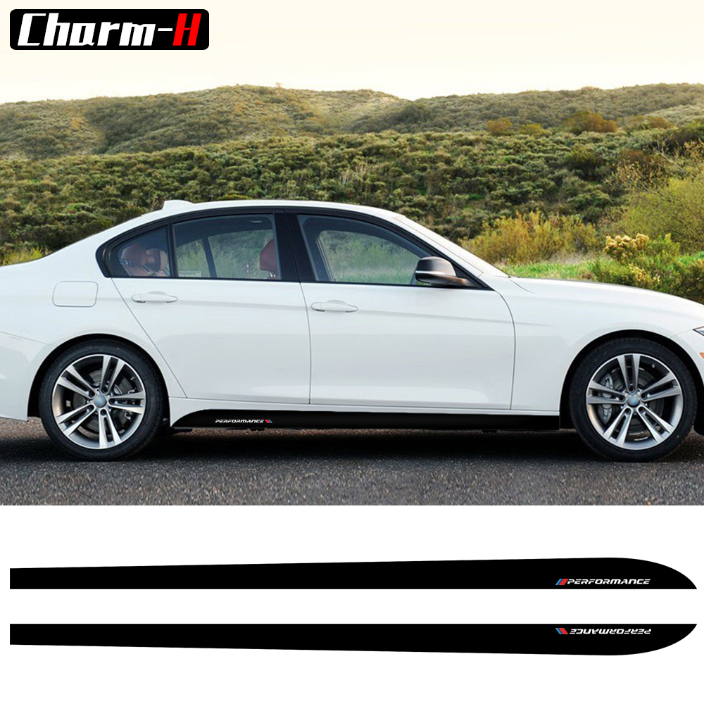 2pcs M Performance Side Skirt Sill Stripes Vinyl Decal Stickers for BMW 3 Series E90 E91 E92 E93 Car Styling Accessories