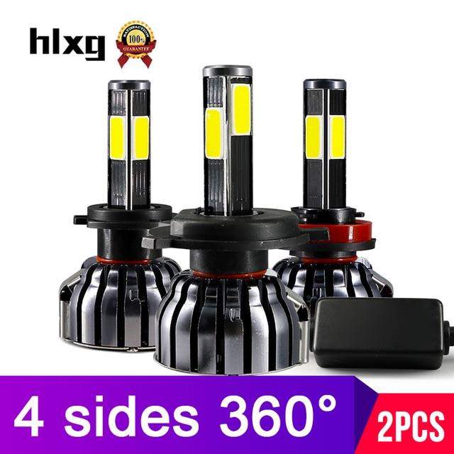 Hlxg 4 Côtés 12000LM H8 H11 Brouillard lumières Aucune Erreur h7 led canbus H4 lampes led HB3 9005 HB4 90 W auto ampoules pour voitures 12 V 6000 K