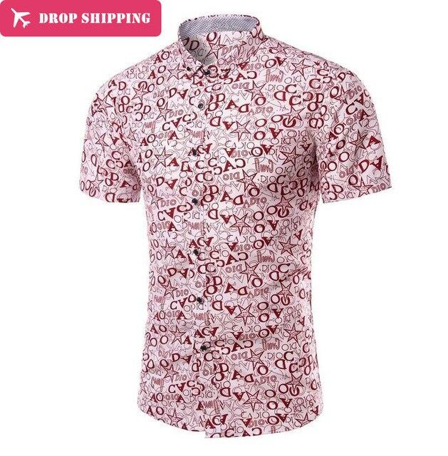 Men Shirt Direct Selling Cotton Dress Shirts Dobby -5xl Summer 2016 New Men Leisure Flower Printing Short Sleeve Shirt ,x131