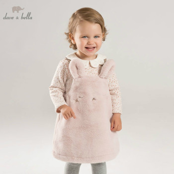 DBM8183 dave bella autumn/winter Princess baby dresses girls Lolita dress children sleeveless high quality dress image