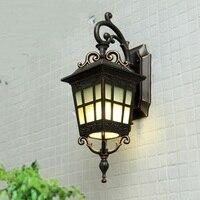 Европейский стиль железный черный открытый настенный светильник Открытый дождь доказательство водостойкий настенный светильник вилла и л